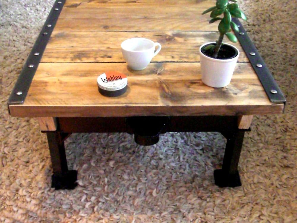 Industrial factory cart coffee table vintage industrial for Cart coffee table