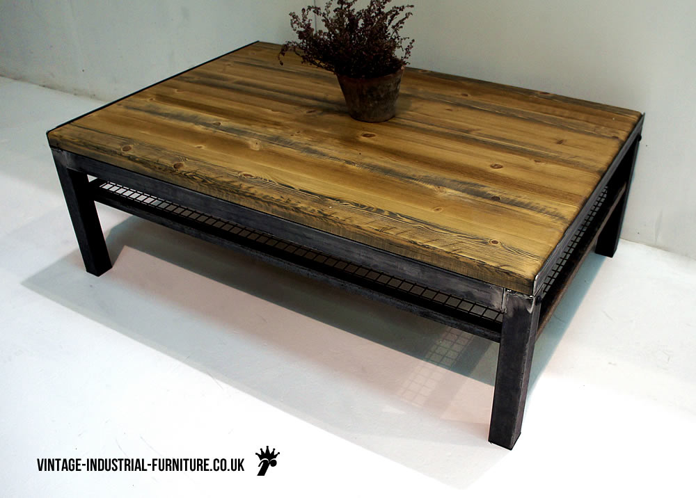 vintage industrial coffee table with shelf. Black Bedroom Furniture Sets. Home Design Ideas