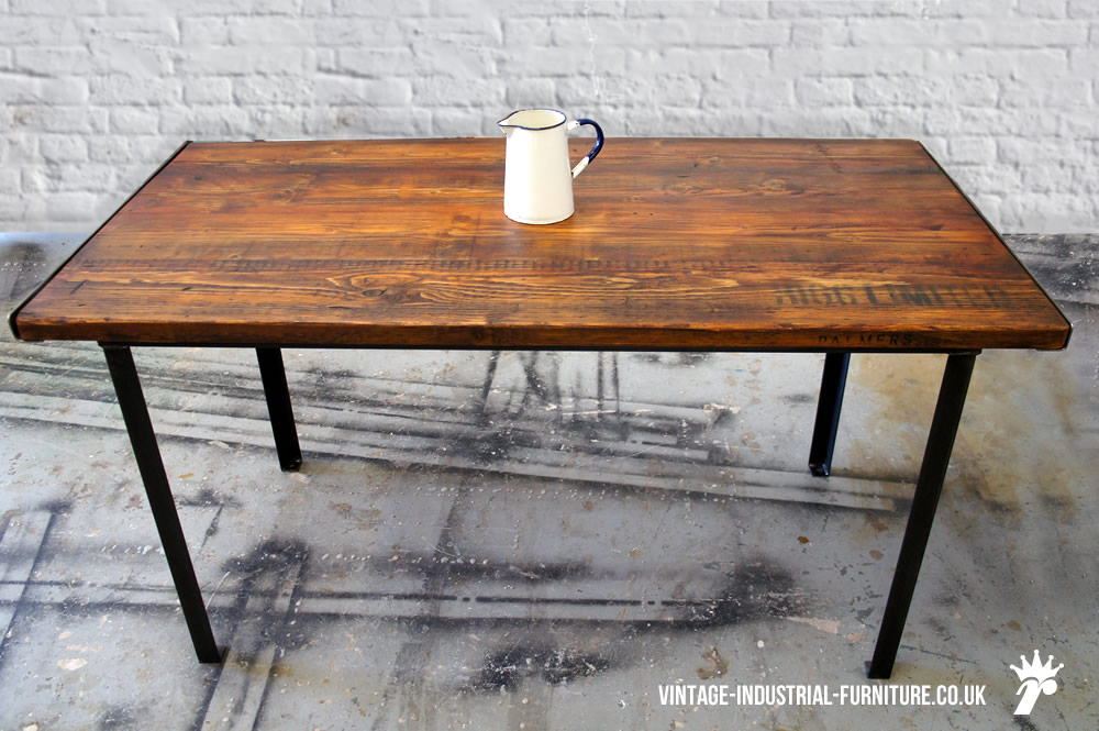 stencilled vintage industrial dining table. Black Bedroom Furniture Sets. Home Design Ideas