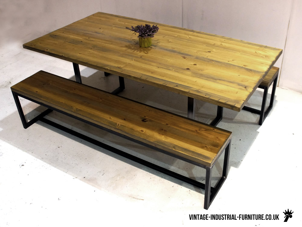 Industrial loop leg dining table for Dining table with bench