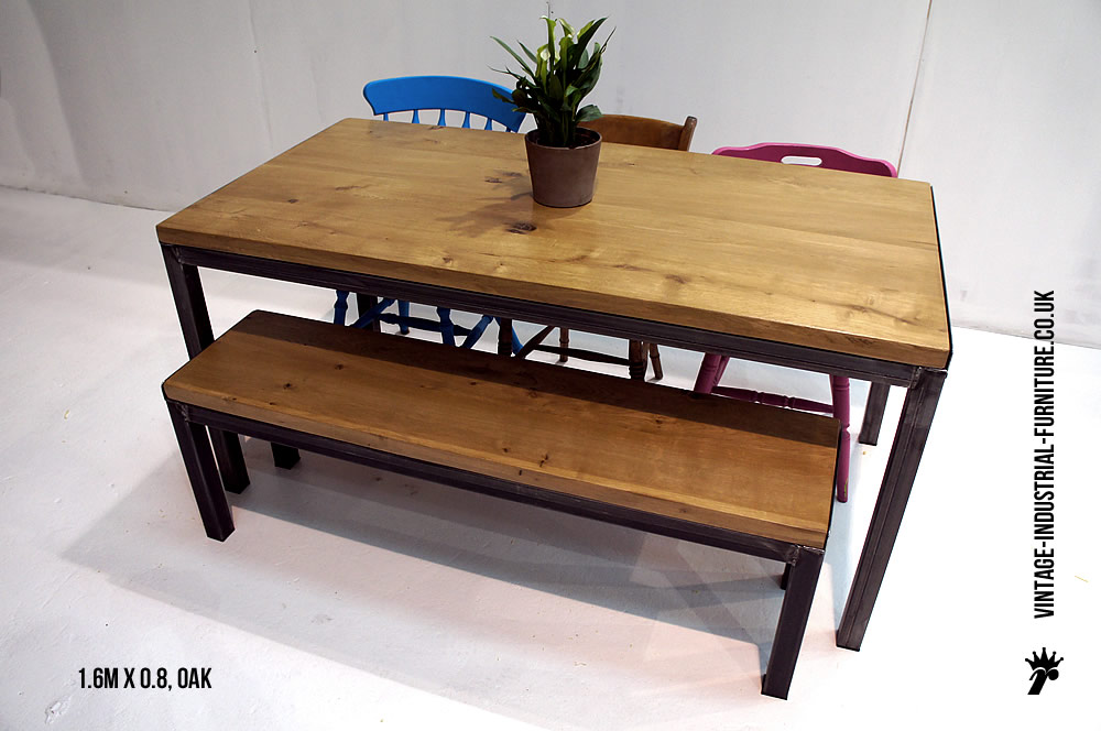 Industrial Style Oak Dining Table : oakdiningtableandbench from vintage-industrial-furniture.co.uk size 1000 x 664 jpeg 110kB