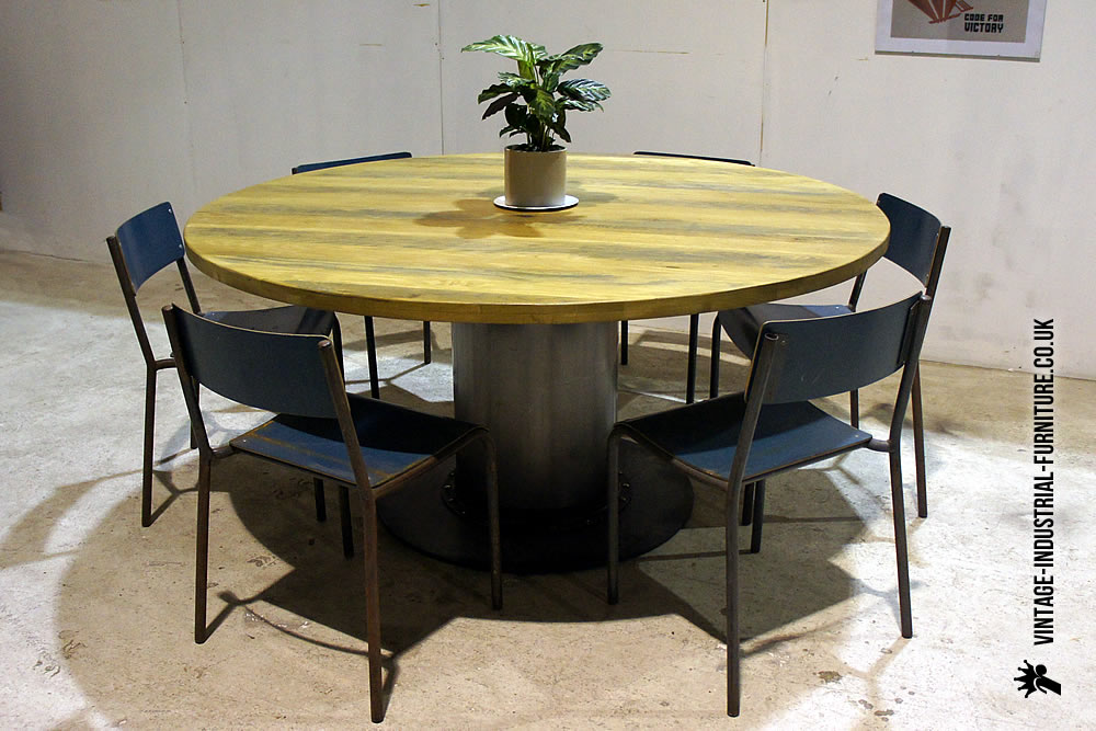 vintage industrial round dining table large. Black Bedroom Furniture Sets. Home Design Ideas