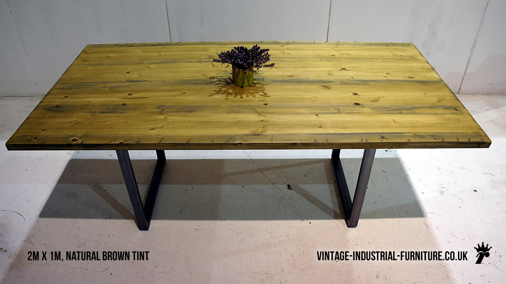 Industrial loop leg dining table for Square industrial dining table
