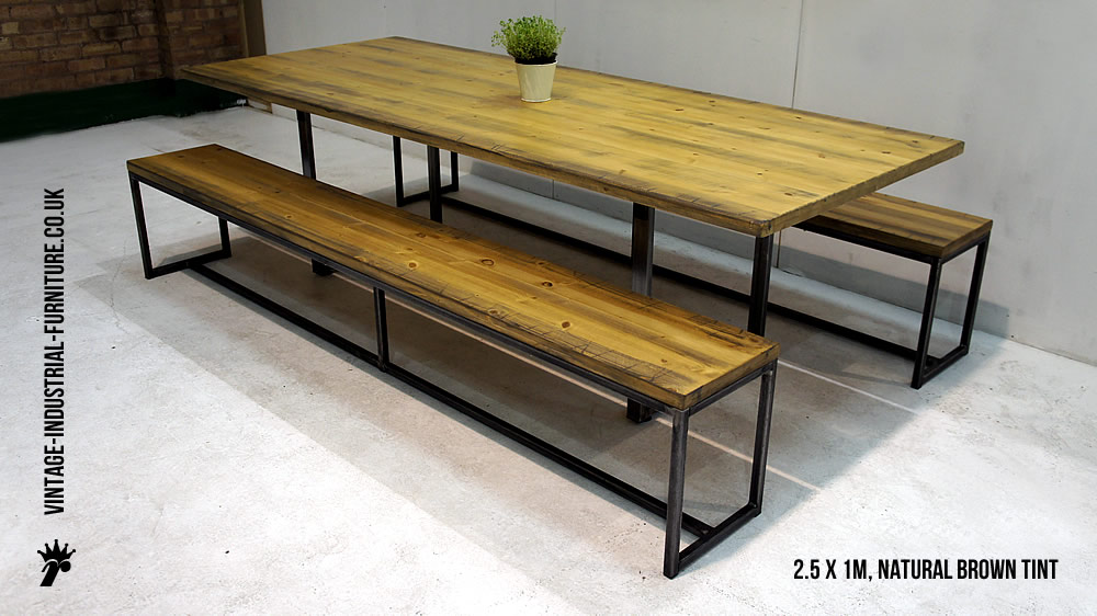 Wood and Metal Industrial Dining Table Benches