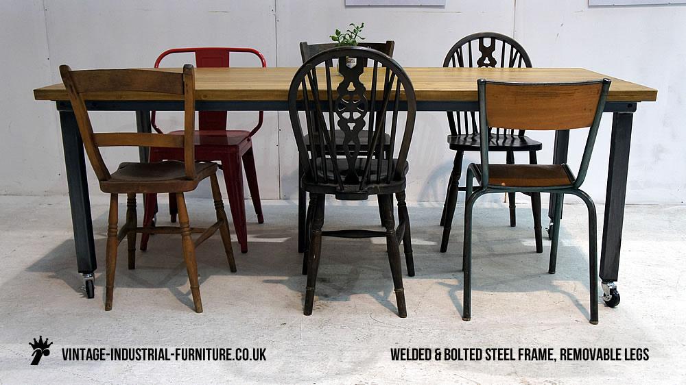 Vintage Industrial Table on Castors