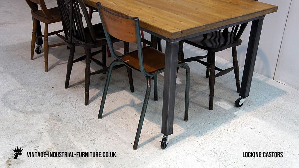 Vintage Industrial Table On Castors