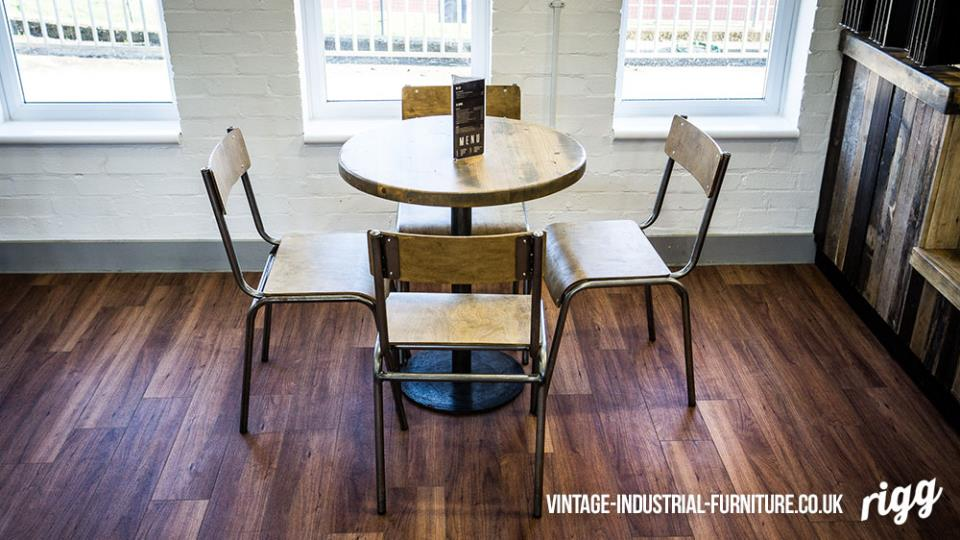 vintage industrial cafe table and chairs