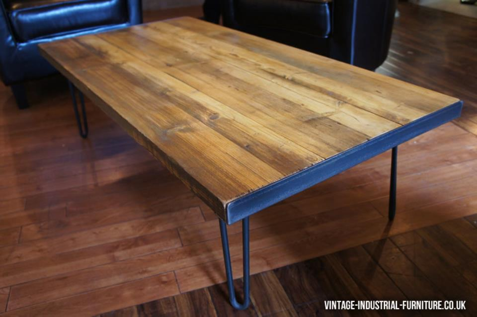 Hairpin Leg Vintage Coffee Table with a Rich Nutty Wood Colour