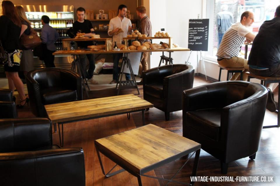 Relaxing Leather Seating Around the Vintage Industrial Coffee Tables