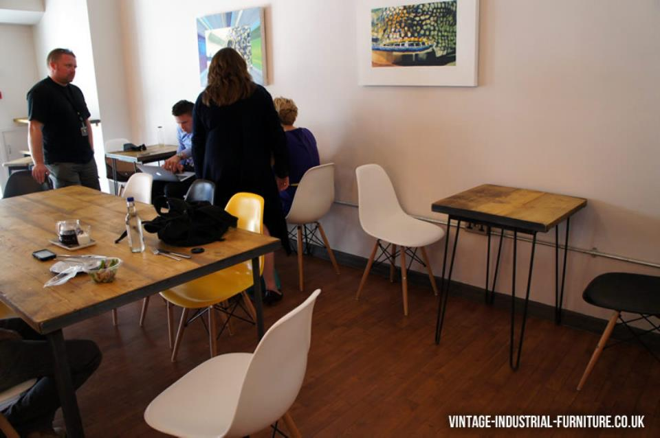 Vintage Industrial Dining Table and Hairpin Table at Yorks Bakery Cafe