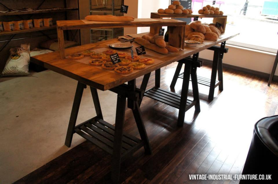 Vintage Industrial Trestle Table