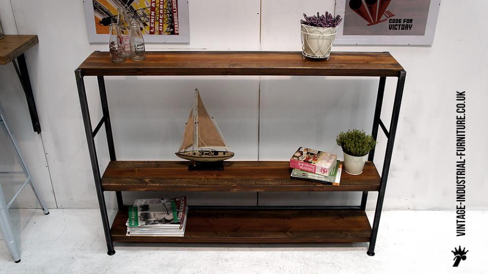 Vintage Wood Metal Shelving Unit