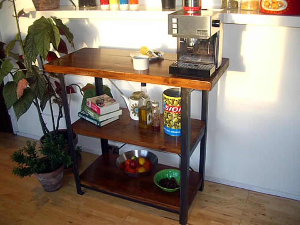 Vintage Industrial Work Table with Wooden Storage Shelves