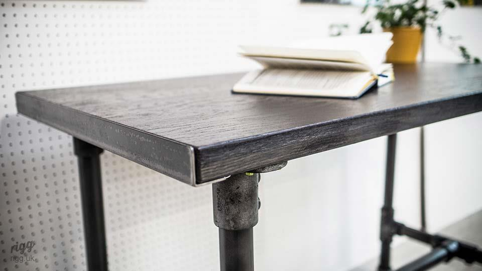 Black Industrial Desk with Pipe Legs