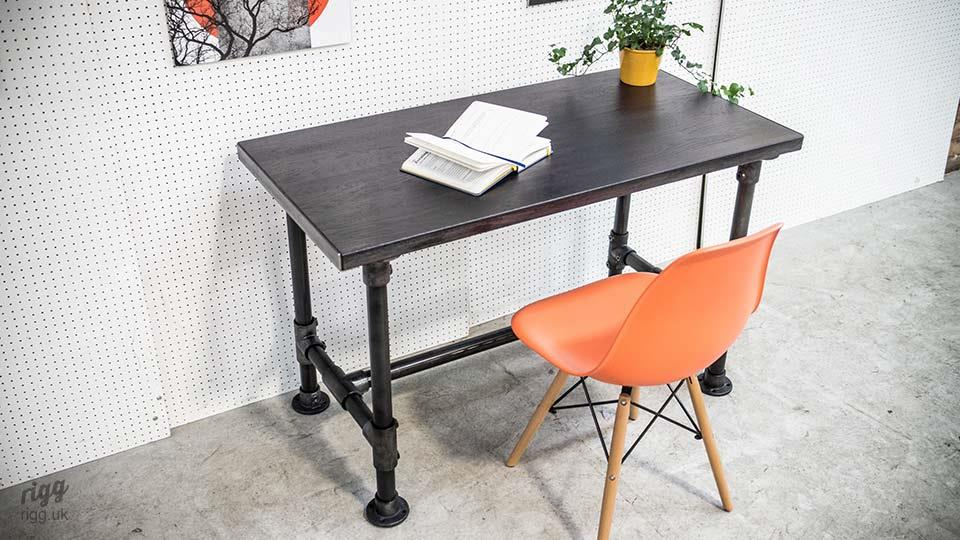 Small Industrial Pipe Desk Black Stained Oak