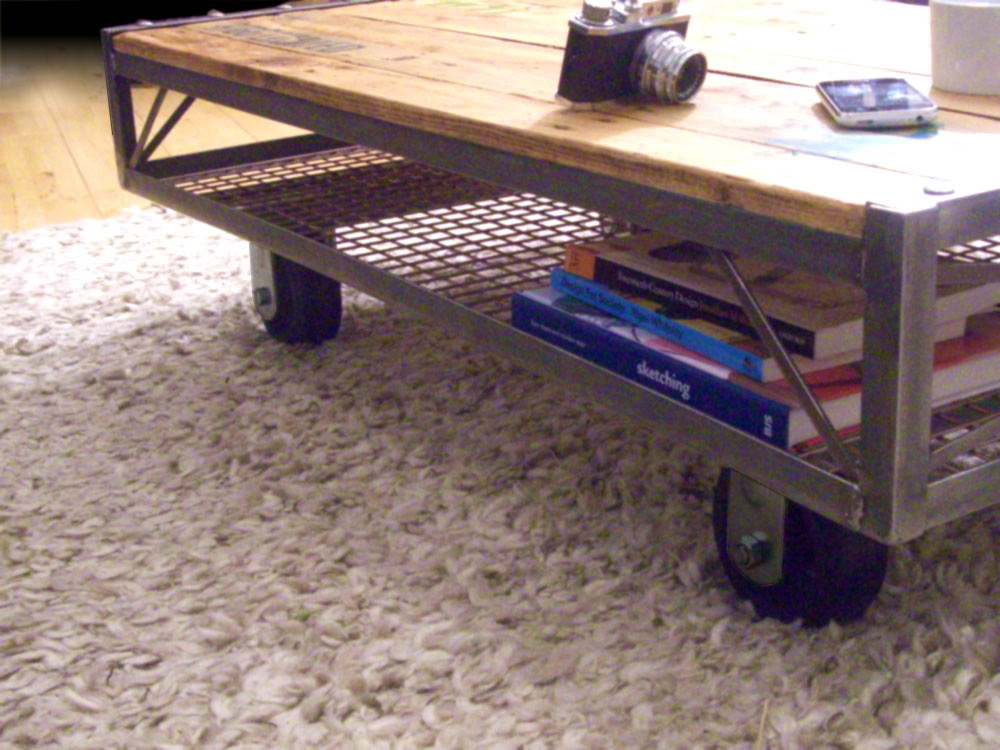 Vintage Industrial Steel Upcycled Pallet Coffee Table
