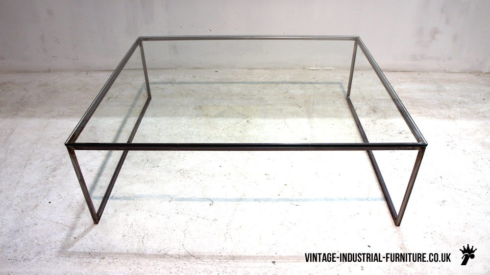 Vintage industrial glass top coffee table Steel and glass coffee table