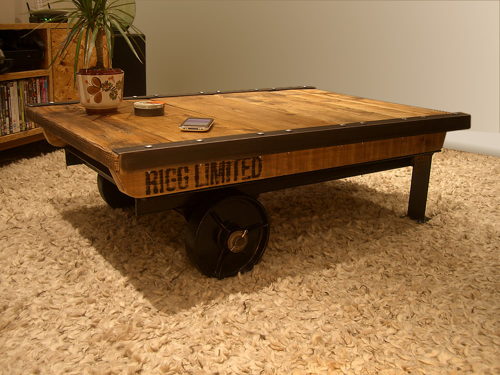 industrial factory cart coffee table. Black Bedroom Furniture Sets. Home Design Ideas