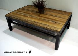 Vintage Industrial Coffee Table with Shelf