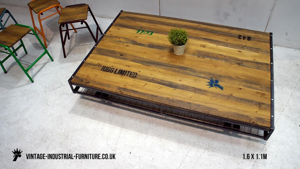 Industrial Coffee Table on Wheels