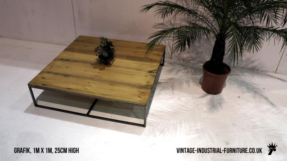 Low square industrial coffee table