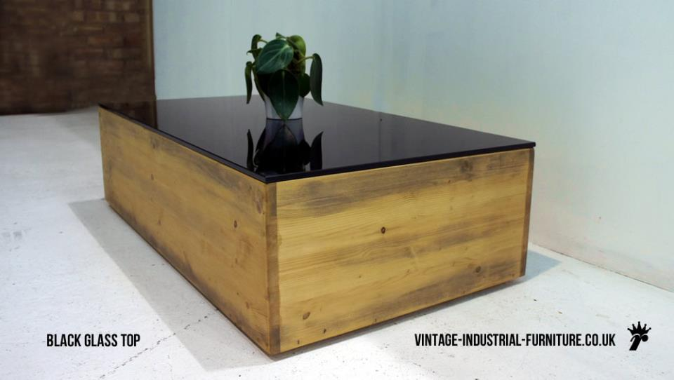Vintage Industrial Glass Top Coffee Table