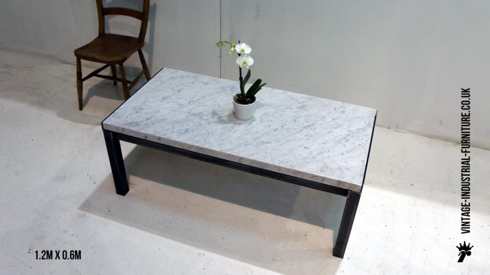 Vintage Industrial Marble Top Coffee Table