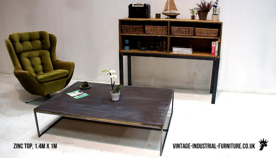 Vintage Industrial Zinc Top Coffee Table