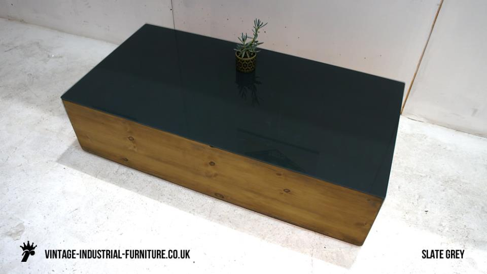Vintage Slate Grey Glass Coffee Table