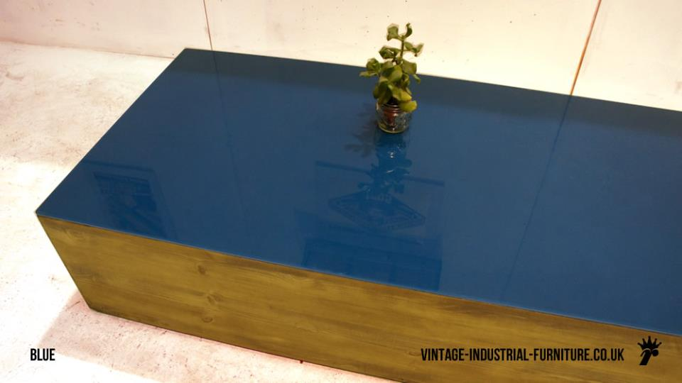 Vintage Teal Blue Glass Coffee Table