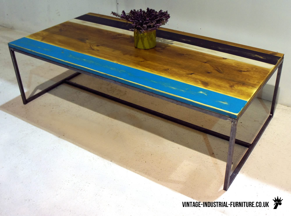 vintage industrial striped coffee table. Black Bedroom Furniture Sets. Home Design Ideas