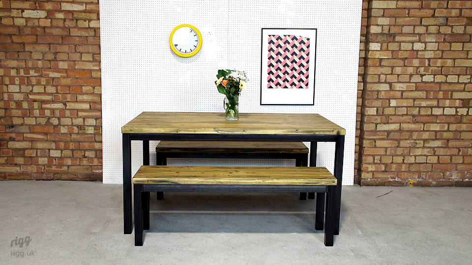Refectory Table and Bench Set : diningtablebenchset from vintage-industrial-furniture.co.uk size 960 x 540 jpeg 123kB