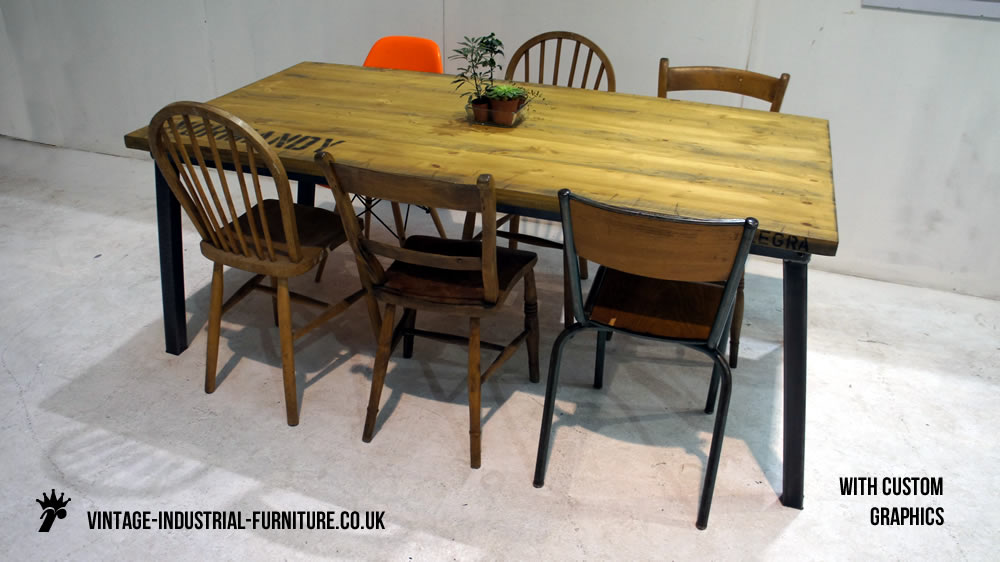 industrial style table angled legs
