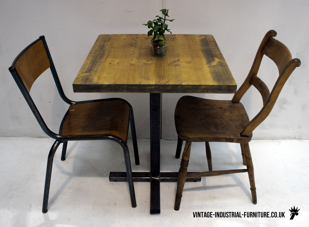 vintage industrial bistro table. Black Bedroom Furniture Sets. Home Design Ideas