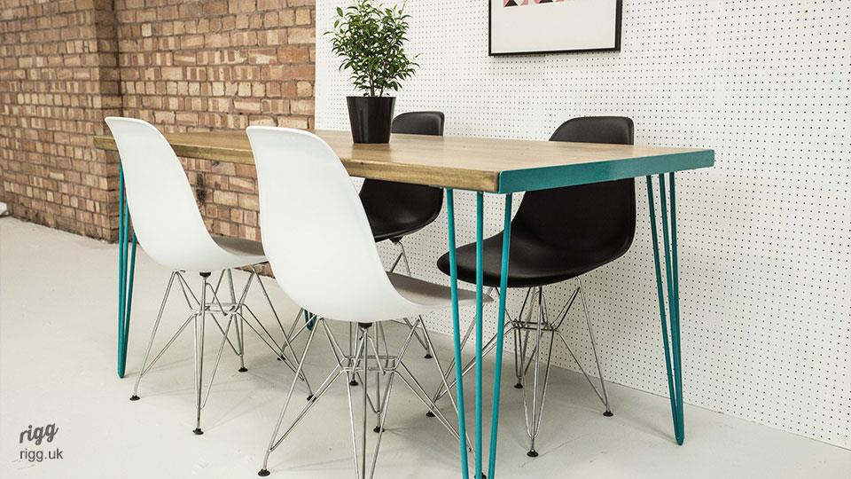 Coloured Vintage Hairpin Dining Table
