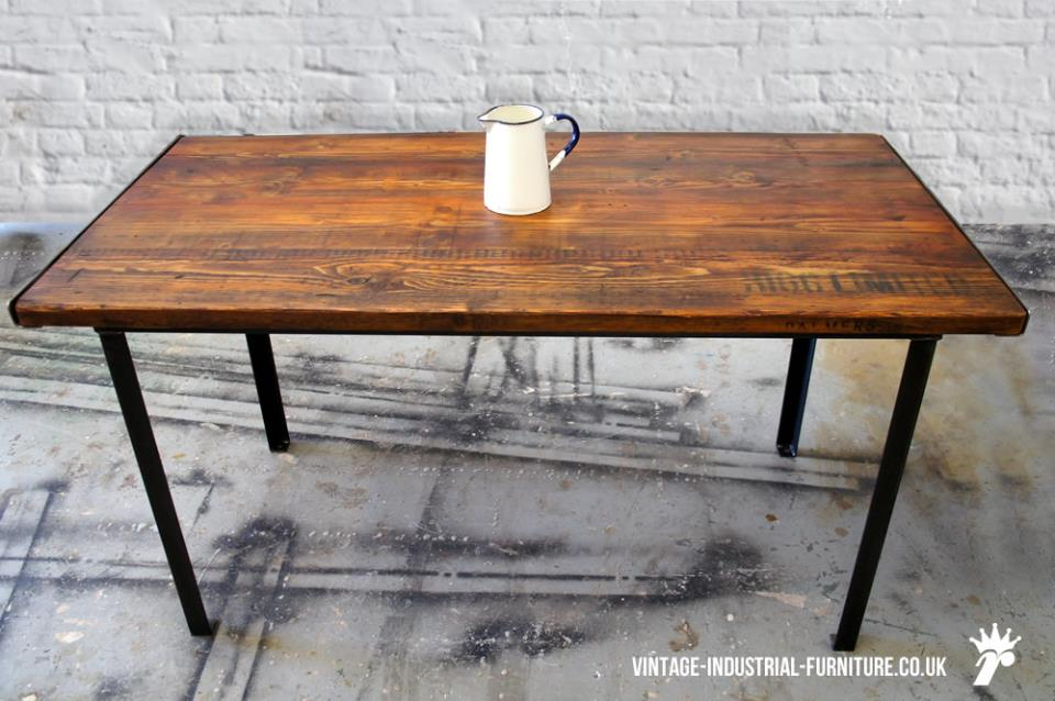 Stencilled vintage industrial dining table