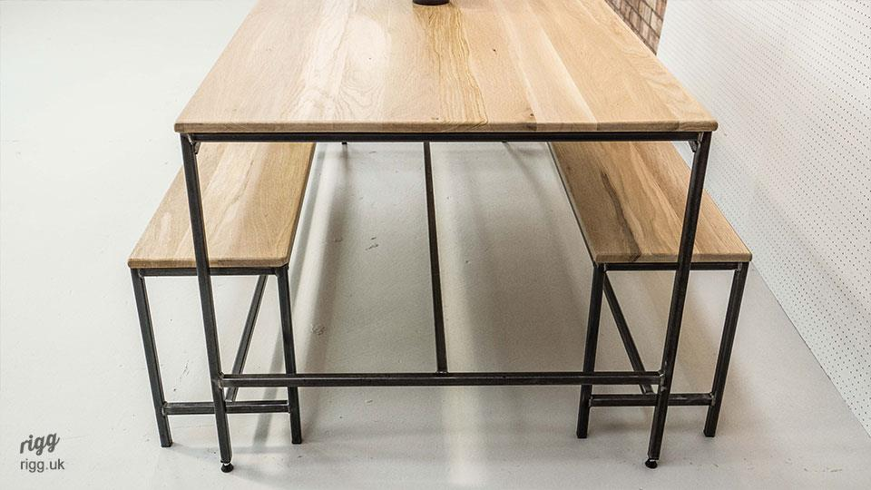 Industrial Dining Table Set: Industrial Dining Table Bench Set