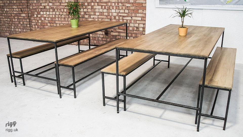 Industrial Dining Table Bench Set
