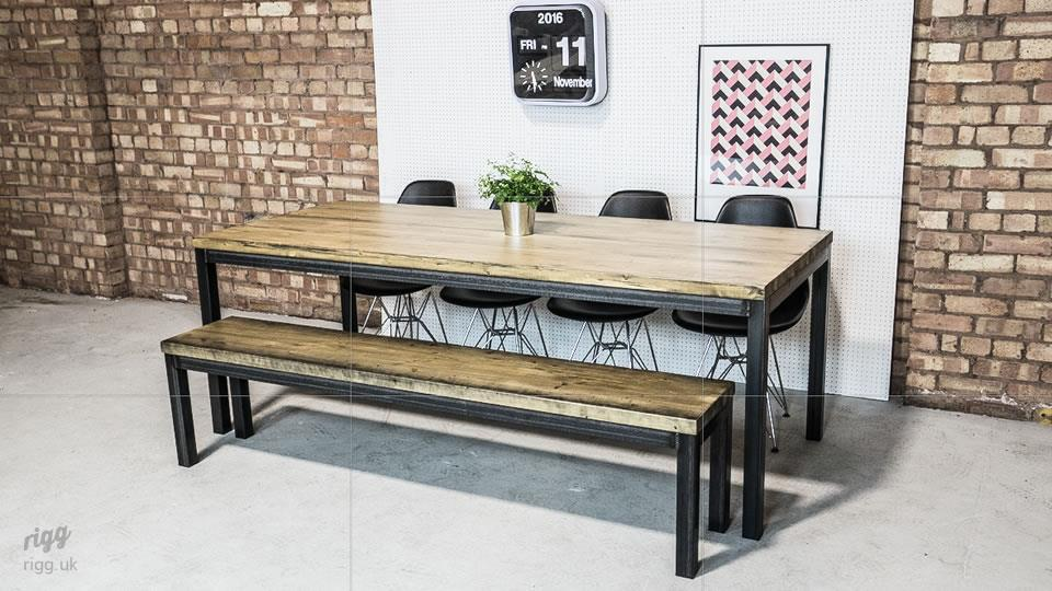 Industrial style dining table with bench
