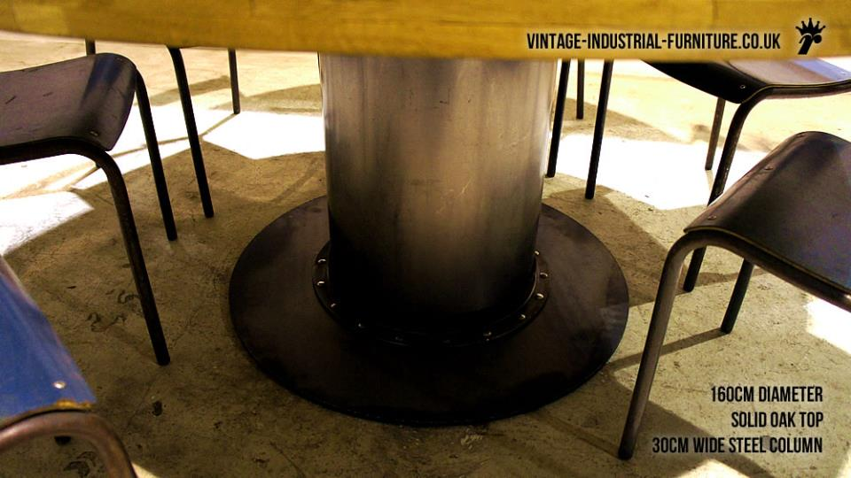 Large Round Vintage Industrial Dining Table