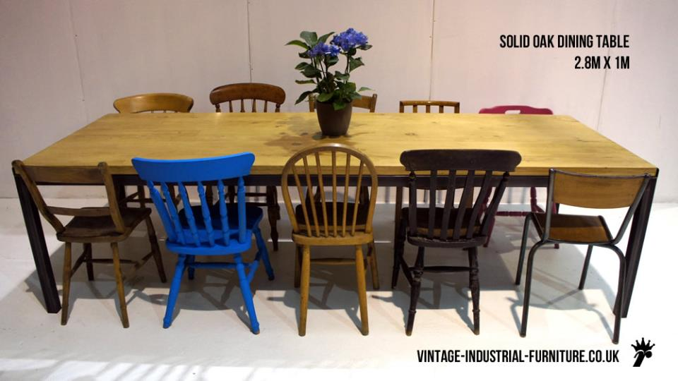 Large Solid Oak Industrial Dining Table