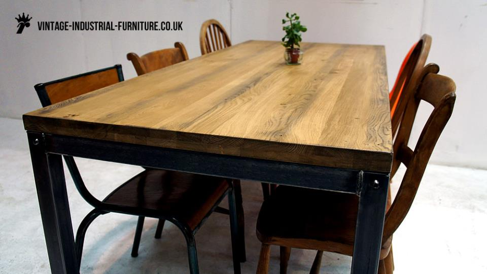 Oak Top Vintage Industrial Dining Table