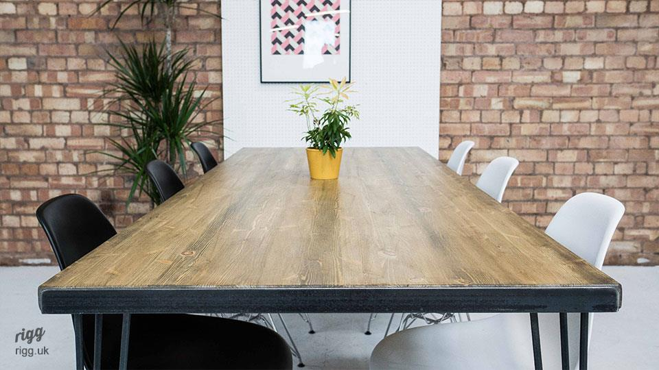 Reclaimed Wood Hairpin Leg Dining Table