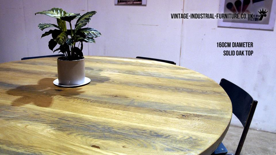 Round Oak Vintage Industrial Dining Table