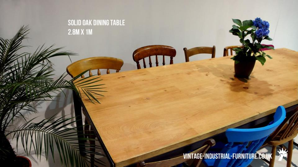 Solid Oak Industrial Dining Table