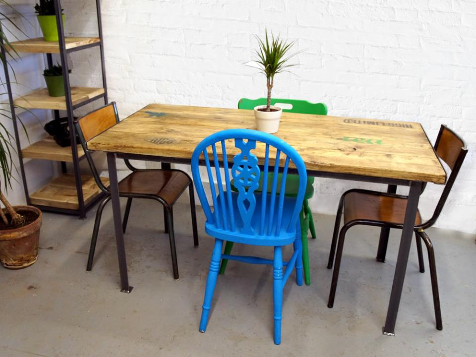 Stencilled vintage industrial dining table for Upcycled dining table