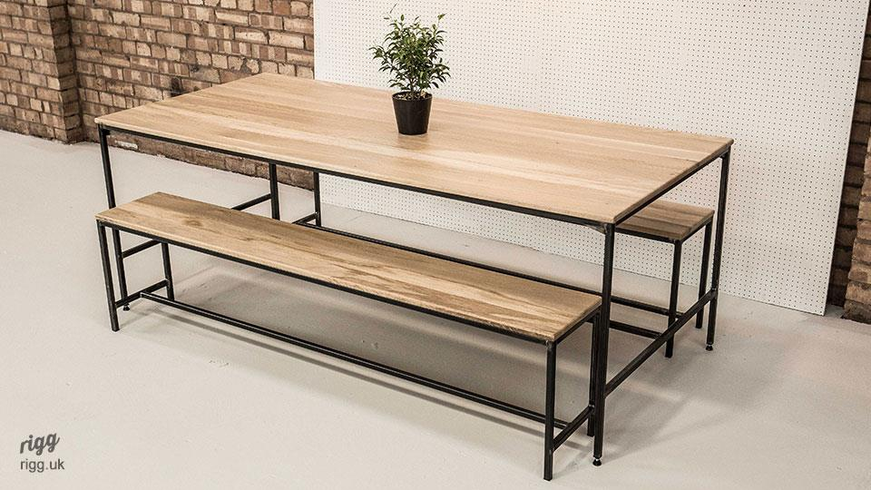 Phenomenal Industrial Dining Table Bench Set Theyellowbook Wood Chair Design Ideas Theyellowbookinfo