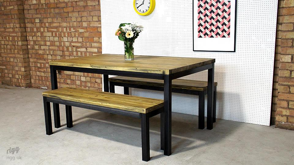 Vintage Industrial Table and Bench