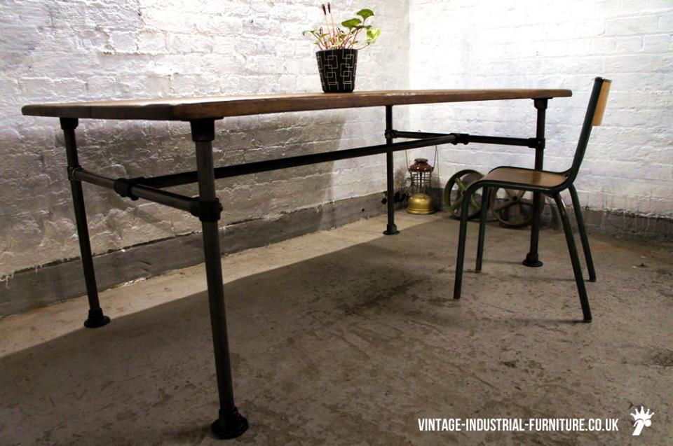 Vintage Oak Table Metal Legs