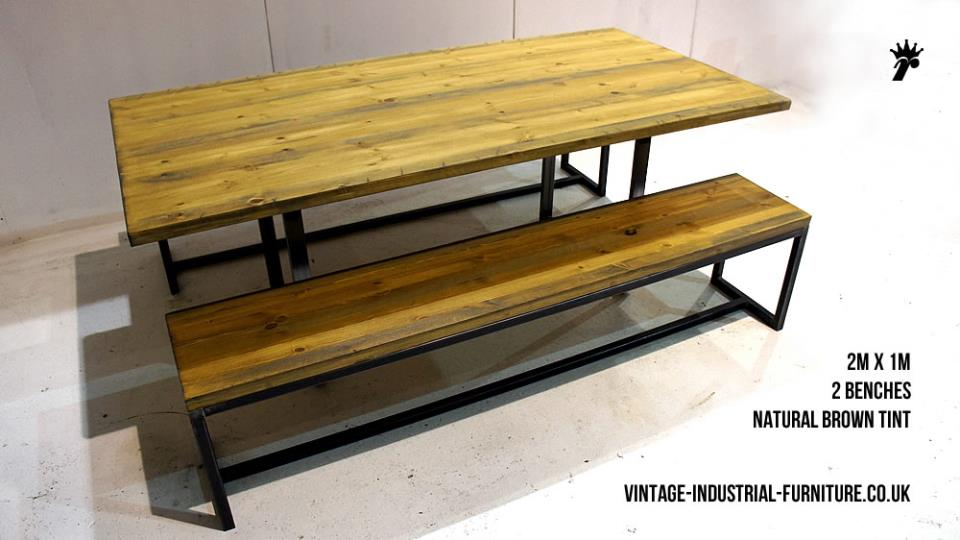 Vintage Square Loop Leg Dining Table